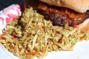 Doenjang slaw with kimchi burger