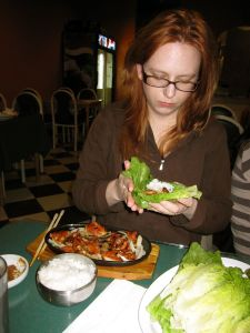 Tammy wraps dakkalbi freestyle at Bear Korean Restaurant in March 2009.