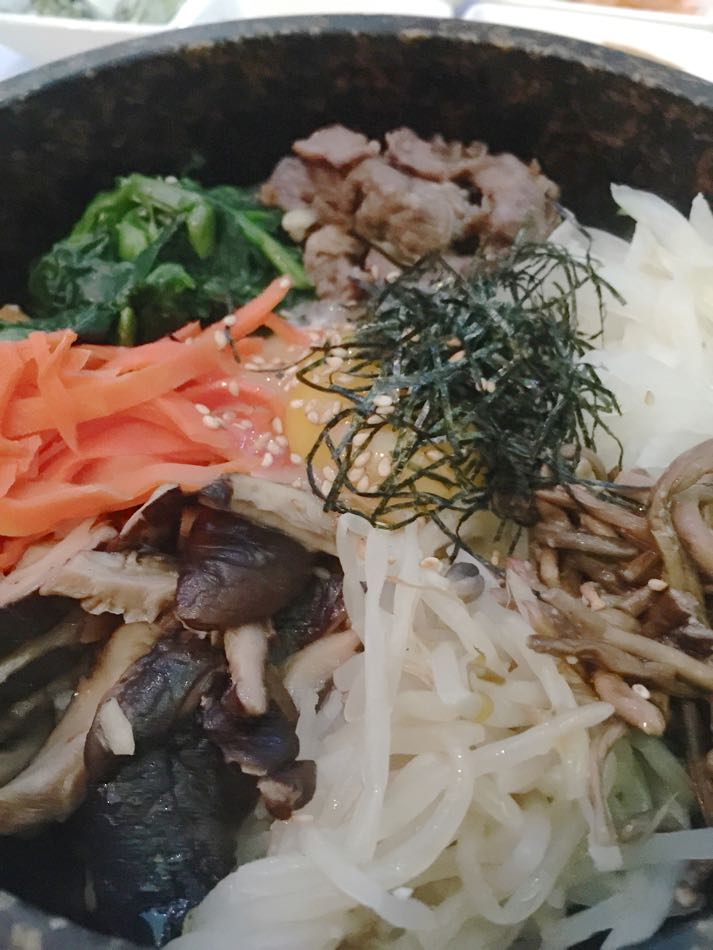 Elegant pre-mix bibimbap presentation (Tammy Quackenbush photo)