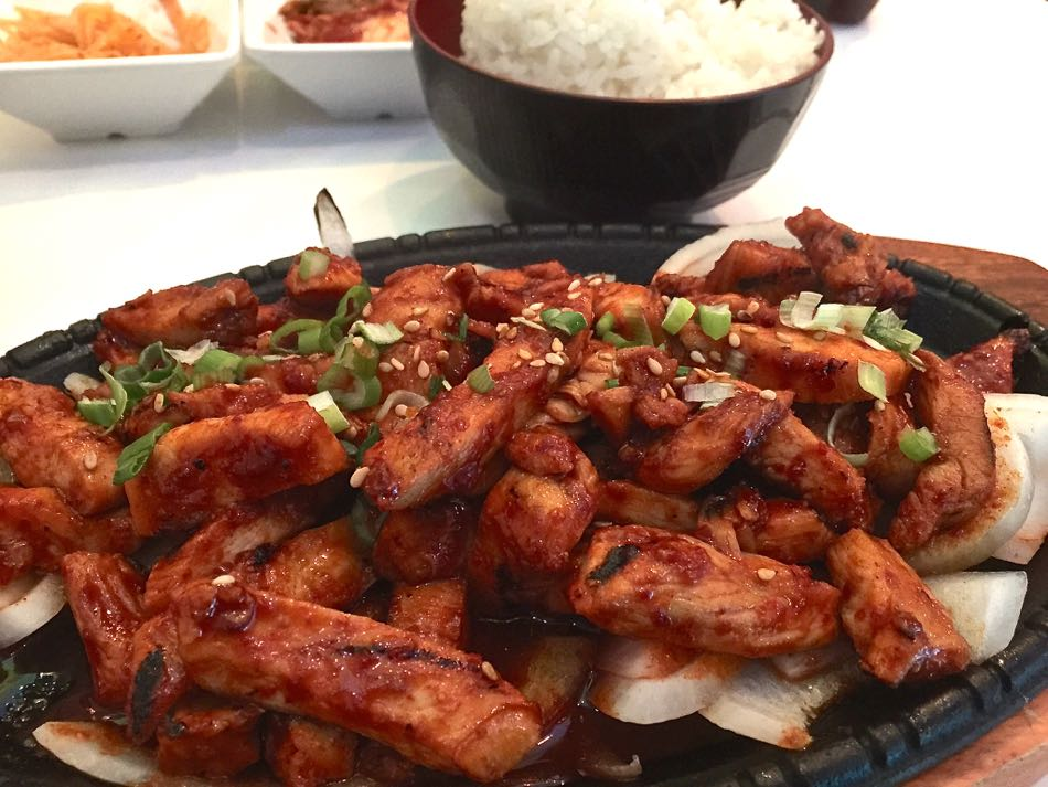 Hubby's grilled spicy chicken aka dakgalbi. This is not how they do it in Chunchon.